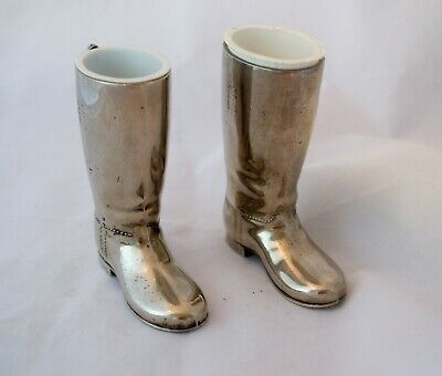 Vintage Silver Plated Riding Boots Spirit Measures Single & Double Shot Bar Wear