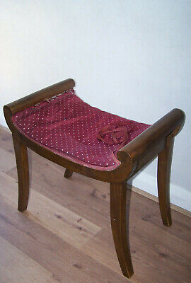 Antique window seat Dressing table stool with scroll ends.