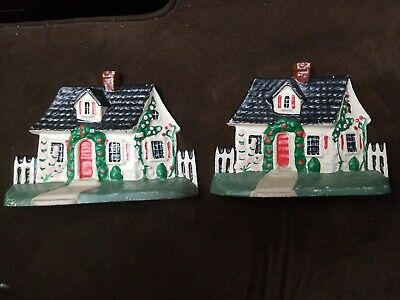 """2 Vintage Cast Iron Country Cottage w/ Fence Door Stop 5"""" x 7"""" x 1.75"""" Very Good"""