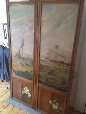 Antique Folk Art Vintage Hand Painted 2  panel Room Divider Changing Screen