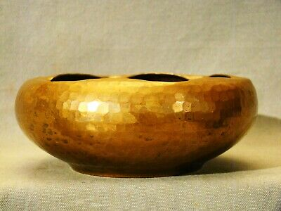"Arts & Crafts Signed Roycroft  Hammered Copper Bowl 6 1/2"" dia early 20th c"