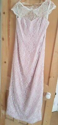 Alfred Angelo Dusky Pink Full Length Dress with White Lace Overlay, Size 14