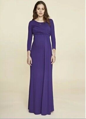 Isabella Oliver Womens 1 Small Hadyn Maternity Maxi Dress Purple 3/4 Sleeves