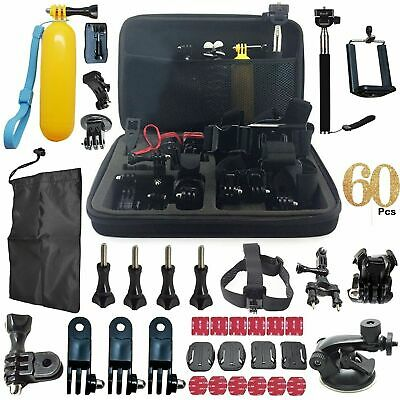 60 Pcs SJCAM Head Chest Accessories Set Kit for GoPro Hero 2 3 3+ 4 5 Strap Pole