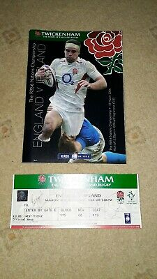 RBS 6 Nations Programme England V Ireland Official Programme Plus Signed Ticket