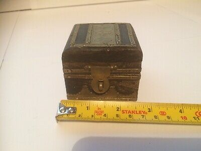 Vintage Antique Wooden Box With Brass Decoration