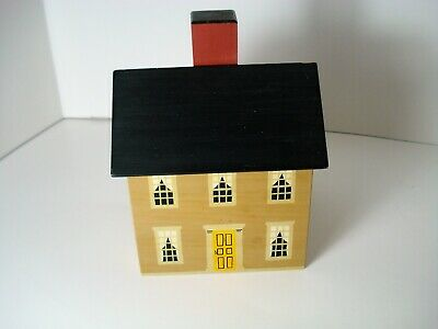 Windfield Design Wooden House Bank, Silk Screened Wooden House Bank, Vintage