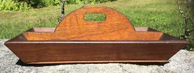 Antique Primitive WoodTone Arched Center Handle Utensil Cutlery Knife Box Tray
