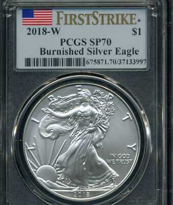2018 W Burnished West Point American Silver Eagle Pcgs Sp70 Ms70