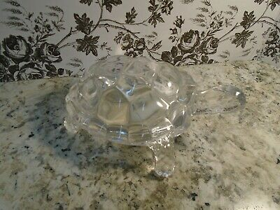 Vintage Art Glass Clear Lead Crystal Glass Turtle Figure Paperweight (Pre-owned)