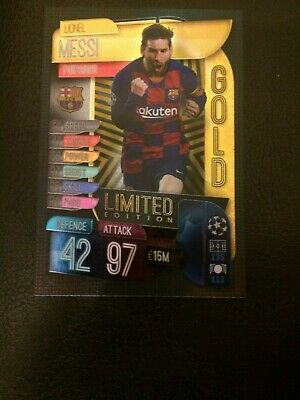 Match Attax 2019/20 Lionel Messi Gold Limited Edition Le5G Mint