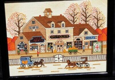 Vintage Fall Season Village Life Horses Shops Cross Stitch Completed and Framed