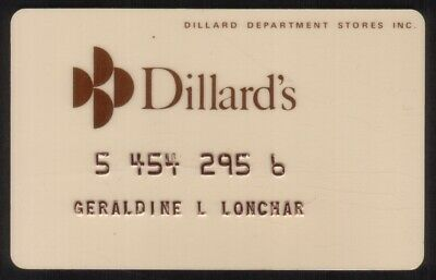 Dillard's Department Stores Regular Size Merchant Credit Card (Cream Colored)
