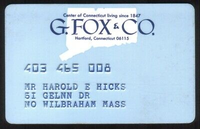 G. Fox & Co. Stores (Hartford Connecticut) Regular Size Merchant Credit Card