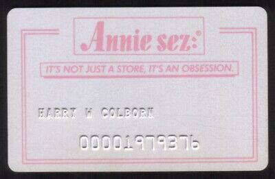Annie Sez Stores Regular Size Merchant Credit Card