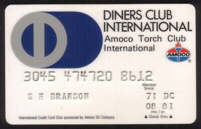 Diners Club & Amoco Torch Club International Credit Card Exp 08/81