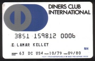 Diners Club International Credit Card Exp 09/80