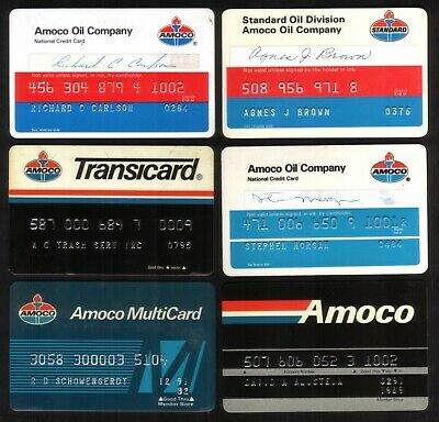 AMOCO Oil Company Credit Cards: 1976 // 1995:  6 Different