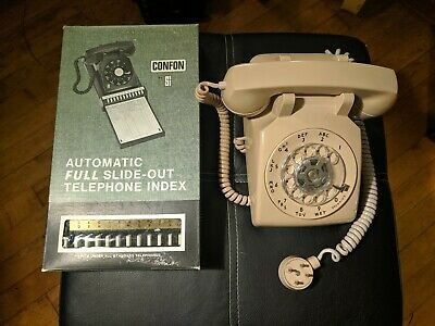Bell System Rotary Dial Telephone Western Electric 500 Beige W/ Automatic Index