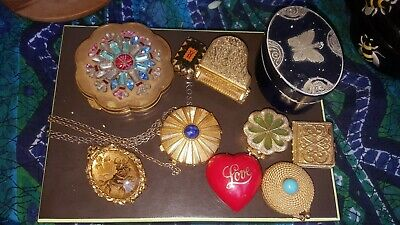 Vintage LOT solid perfume compacts LL,E.L,Maxfactor,Avon etc