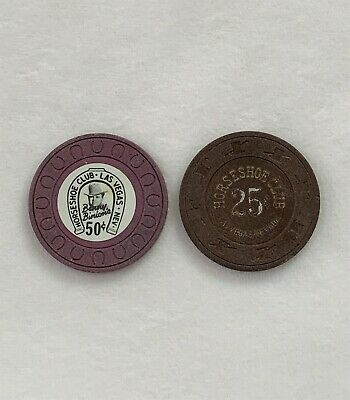 Las Vegas Casino Chips One (1) 1960's $.50 & One 1980 $.25 Horseshoe Club