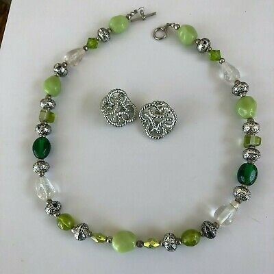 Vintage Anne Klein Silver Earrings Signed Paired with Green Bead Necklace
