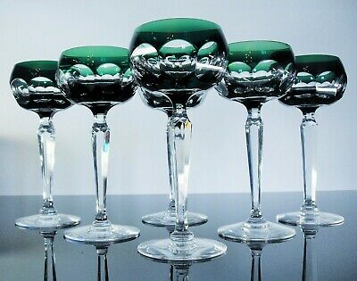 Antique 6 Glasses Chalice Crystal Colour Ribs Plates Val st Lambert Signed