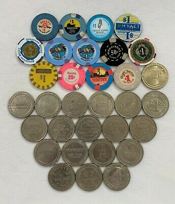 Lot of 31 $1 Casino Chips and $1 Slot Tokens from Nevada Casinos (& 1 from Iowa)