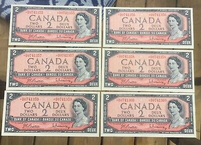 Lot Of 6 Consecutive 1954 Bank Of Canada Two 2 Dollar Replacement Bank Notes