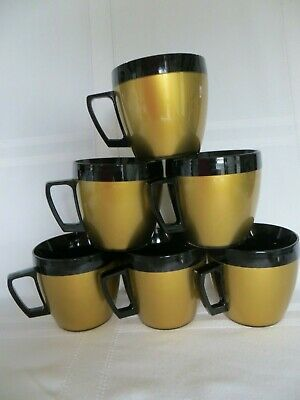 THERMO SERV Insulated Black, Gold Coffee Cups Set of 6 VTG West Bend + Holder