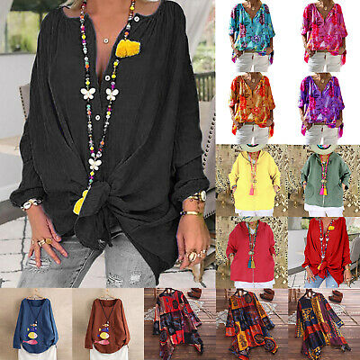 Plus Size Womens Boho Floral Long Sleeve Casual Blouse Loose T Shirts Tunic Tops