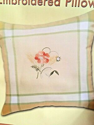 """Craftways Stamped Embroidery Pillow Kit Crewel  MORNING POPPY   18"""" x 18"""" Floral"""