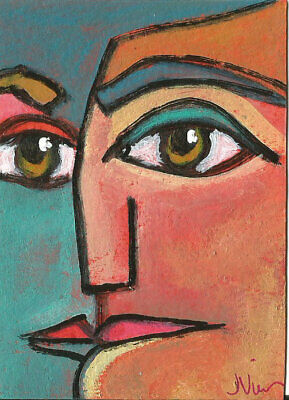 Determination Original Abstract Cubism Acrylic Painting Portrait ACEO FUN ART NR