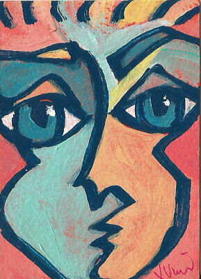 Colorful. Original Abstract Cubism Acrylic Painting Portrait ACEO FUN Pop ART NR