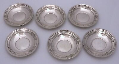 Whiting Hammered Sterling Silver Butter Pat Saucers Tudor / Corinthian