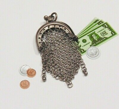 Vtg Sterling Silver MESH PURSE Needs TLC Opens Bracelet Charm Pendant Antique