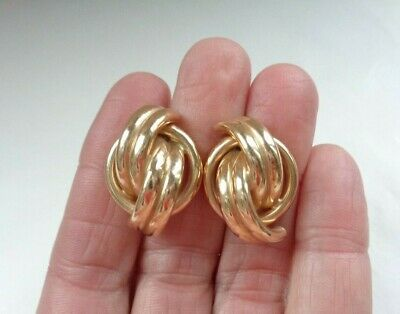 Vintage Solid 14K Yellow Gold Modernist Knot Earrings 7.20g Not Scrap