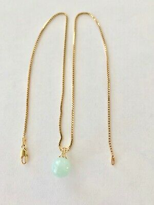 Vintage 14k Yellow Gold Jade Pendant W 16 in Chain Lovely