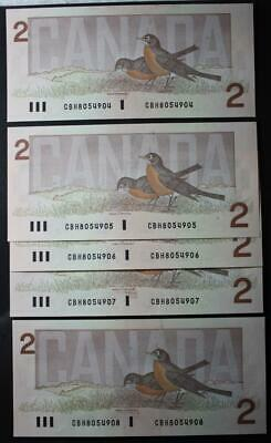 Canada 1986 $2 Dollar Bank Notes, 5 In Sequence, Crisp Choice Uncirculated, CBH