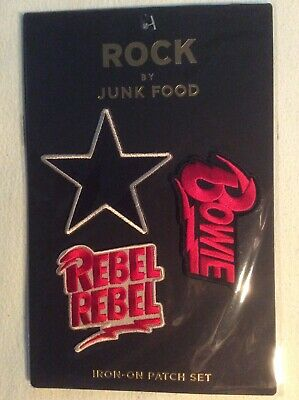 David Bowie NEW 3 Patches Rock Iron-On Junk Food Black Star Rebel Rebel