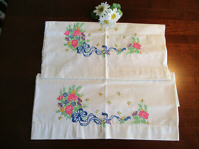 Pillowcases w/Hand Embroidery Bouquet of Flowers Long Blue Ribbon, Vintage