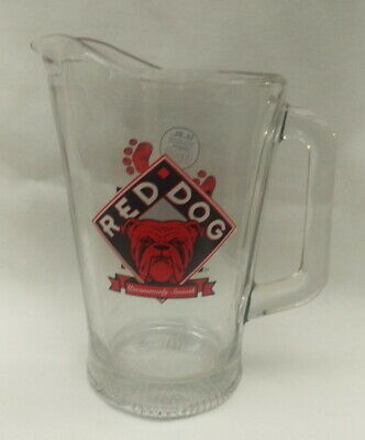 1995 Red Dog Beer Plank Road Brewery Glass Pitcher Vintage UR Your Own Dog RARE