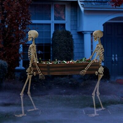 Halloween Decoration 5 Foot Poseable Skeleton Duo Carrying Coffin Cooler