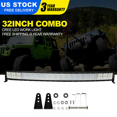Quad-Row 4080W 32Inch LED Work Light Bar Flood Spot For Offroad Truck ATV PK52