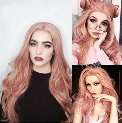 Women Synthetic Hair Full Wigs Long Curly Wavy Wig Heat Resistant Pink Lace Hot