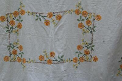 """Vintage Linen Embroidered Tablecloth Yellow/Orange Rose Flowers 55"""" x 73"""""""