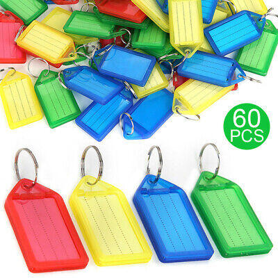 US 60Pcs Key Chains Multiple Color Key ID Label Tags with Split Ring Paper Card