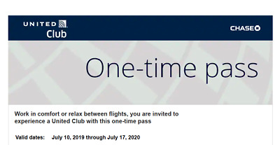 Two (2) United Airlines Club Lounge One-Time Pass EXP 07/17/20  E-mail delivery