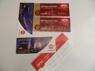 4 AMC Theatres Re-Admit Movie Passes gold experience tickets with envelope