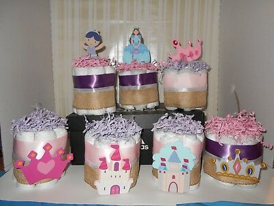 7 Princess Mini Diaper Cakes Centerpiece Baby Shower Gift Custom Orders Accepted
